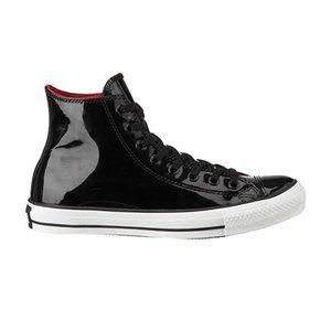 Converse Shoes Hi Top Black Leather Patent Chuck